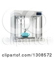 Clipart Of A 3d Printing Machine Creating A Tea Pot Prototype On White Royalty Free Illustration