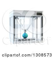 Clipart Of A 3d Printing Machine Creating A Planet Earth Prototype On White Royalty Free Illustration
