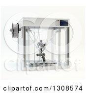 3d Printing Machine Creating A Pistol Gun Prototype On White