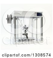 Clipart Of A 3d Printing Machine Creating A Pistol Gun Prototype On White Royalty Free Illustration