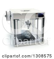 Clipart Of A 3d Printing Machine Creating A Human Skull Prototype On White Royalty Free Illustration