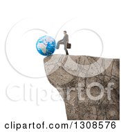 3d White Businessman Pushing Planet Earth Off Of A Cliff Edge On White