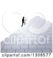 Clipart Of A 3d Silhouetted Man Building His Own Staircase Pyramid With Blocks Royalty Free Illustration