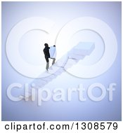 Clipart Of A 3d Silhouetted Man Building His Own Staircase With Blocks Royalty Free Illustration