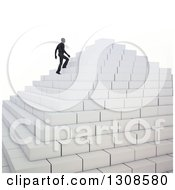 Clipart Of A 3d Silhouetted Business Man Climbing Up Pyramid Steps On White Royalty Free Illustration
