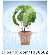 Clipart Of A 3d Leafy Globe Plant In A Terra Cotta Pot Over Blue Royalty Free Illustration