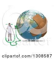 Clipart Of A 3d Male Doctor Holding A Stethoscope To Africa On Earth With Bandages On The Planet Royalty Free Illustration
