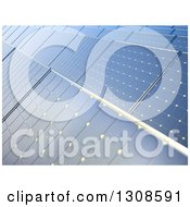 Clipart Of A Background Of 3d Blue Solar Power Photovoltaic Panels Royalty Free Illustration