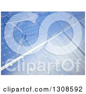 Clipart Of A Background Of 3d Windmills Reflecting In Blue Solar Power Photovoltaic Panels Royalty Free Illustration