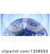 Clipart Of A 3d Planet Earth With Hexagonal Green House Glass Panels Over Blue Royalty Free Illustration
