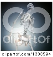 Clipart Of A 3d Human Skeleton With Glowing Joint Pain In The Hip Over Blue And Black Royalty Free Illustration