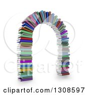 3d Arch Made Of Colorful Text Books On White