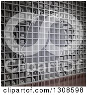 Clipart Of A 3d Silhouetted Head With Empty Shelves On A Wall Of Library Books Royalty Free Illustration by Mopic