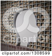 Clipart Of A 3d Silhouetted Head Blank Space In A Library Book Shelf Wall Royalty Free Illustration by Mopic