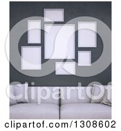 Clipart Of A 3d White Sofa Under Blank Frames On A Dark Wall Royalty Free Illustration