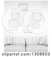 Clipart Of A 3d White Sofa Under Blank Frames On A Wall Royalty Free Illustration