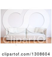 Clipart Of A 3d White Sofa Against A Blank Wall On Wood Flooring Royalty Free Illustration