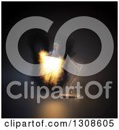 Clipart Of A 3d Desk Lamp Shining Fire On Black Royalty Free Illustration