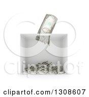 3d Shredder Shredding A Banknote On White