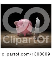 Clipart Of A 3d Saw Cutting A Circle Around A Piggy Bank On Wood Royalty Free Illustration by Mopic