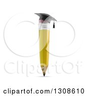 Clipart Of A 3d Yellow Pencil Wearing A Graduation Cap Royalty Free Illustration by Mopic