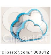 Clipart Of A 3d Silver And Blue Cloud Drive Icon On Off White Royalty Free Illustration