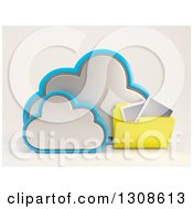 Clipart Of A 3d Cloud Storage Icon With A Photo Folder On Off White Royalty Free Illustration