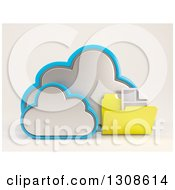 Clipart Of A 3d Cloud Storage Icon With A Document Folder On Off White Royalty Free Illustration