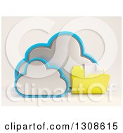 Clipart Of A 3d Cloud Storage Icon With A Plain Document Folder On Off White Royalty Free Illustration
