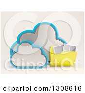 Clipart Of A 3d Cloud Storage Icon With A Folder Of Documents On Off White Royalty Free Illustration