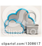 Clipart Of A 3d Cloud Storage Icon With An Open Padlock On Shaded White Royalty Free Illustration