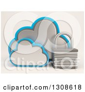 Clipart Of A 3d Cloud Storage Icon With A Padlock On Shaded White Royalty Free Illustration