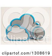Clipart Of A 3d Cloud Storage Icon With A Round Padlock On Shaded White Royalty Free Illustration