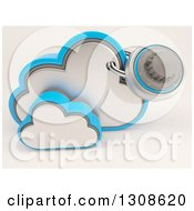 Clipart Of A 3d Cloud Storage Icon With A Secured Round Padlock On Shaded White Royalty Free Illustration