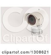 Clipart Of A 3d White HD CCTV Security Surveillance Camera Mounted On A Wall On Off White Royalty Free Illustration