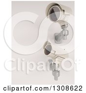 Clipart Of 3d Two White HD CCTV Security Surveillance Cameras Mounted On A Wall On Off White Royalty Free Illustration