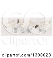 Clipart Of 3d Four White HD CCTV Security Surveillance Cameras Mounted On A Wall On Off White Royalty Free Illustration