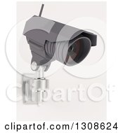 Clipart Of A 3d Black HD CCTV Security Surveillance Camera Mounted On A Wall On Off White Royalty Free Illustration