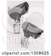 Clipart Of 3d Two Black HD CCTV Security Surveillance Cameras Mounted On A Wall On Off White Royalty Free Illustration