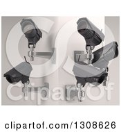 Clipart Of 3d Four Black HD CCTV Security Surveillance Cameras Mounted On A Corner Wall On Off White Royalty Free Illustration