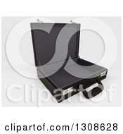 Clipart Of A 3d Open Black Professional Briefcase On Shaded White 2 Royalty Free Illustration