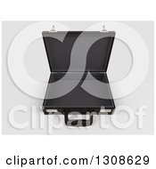 Clipart Of A 3d Open Black Professional Briefcase On Shaded White 3 Royalty Free Illustration