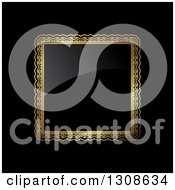 Clipart Of A Black Shiny Plaque With A Gold Frame On Black Royalty Free Vector Illustration by KJ Pargeter
