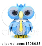 Clipart Of A 3d Blue Owl Wearing A Business Tie On White Royalty Free Illustration by KJ Pargeter