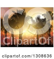 Clipart Of A 3d Magical Tropical Sunset And Silhouetted Palm Trees On A Tropical Beach Royalty Free Vector Illustration