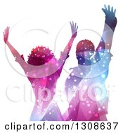 Clipart Of A Colorful Sparkling Silhouetted Woman And Man Dancing On White Royalty Free Vector Illustration by KJ Pargeter
