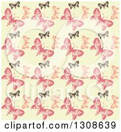 Clipart Of A Seamless Background Of A Retro Black And Pink Butterfly Pattern On Pastel Yellow Royalty Free Vector Illustration by KJ Pargeter