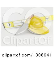 Clipart Of A 3d Mason Trowel Level And Yellow Hard Hat On Shaded White Royalty Free Illustration