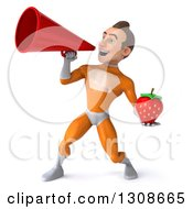 Clipart Of A 3d Young Brunette White Male Super Hero In An Orange Suit Holding A Strawberry And Announcing With A Megaphone Royalty Free Illustration
