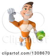 Clipart Of A 3d Young Brunette White Male Super Hero In An Orange Suit Flying And Holding A Green Bell Pepper Royalty Free Illustration